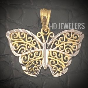 SOLID 14KT GOLD TWO TONE BUTTERFLY CHARM PENDANT